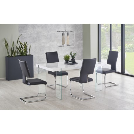 Set masa din sticla si MDF Milton + 4 scaune K294 Black