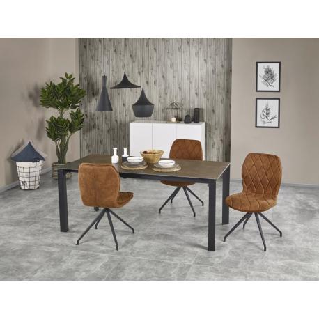 Set masa din sticla si MDF Horizon White + 4 scaune tapitate K237