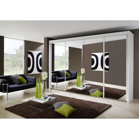 Dulap cu usi glisante si oglinda, alb, IMPERIAL, 350x197 cm