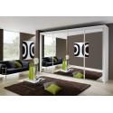 Dulap cu usi glisante si oglinda, alb, IMPERIAL, 320x197 cm