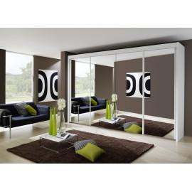 Dulap cu usi glisante si oglinda, alb, IMPERIAL, 350x235 cm