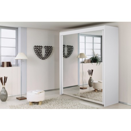 Dulap cu 2 usi oglinda, alb, IMPERIAL, 201x197 cm