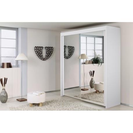 Dulap cu 2 usi oglinda, alb, IMPERIAL, 201x223 cm