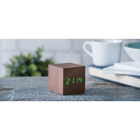 Ceas inteligent Cube Walnut Click Clock/Green Led