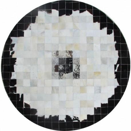 Covor rotund patchwork din piele naturala