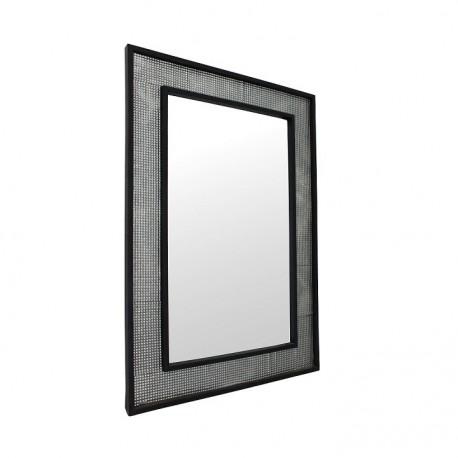 Oglindă, argintiu/negru, 60x90 cm, ELISON