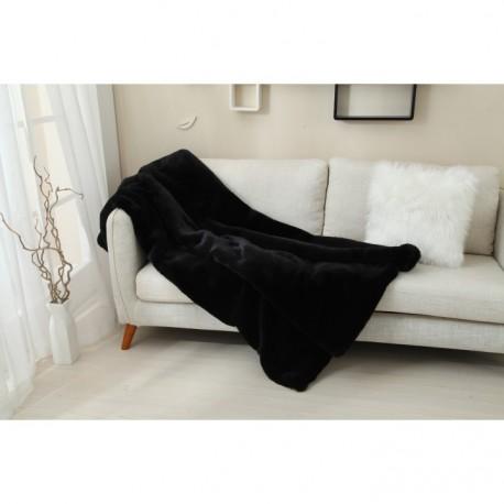 Pătură pufoasa, neagra, 150x170 cm, RABITA