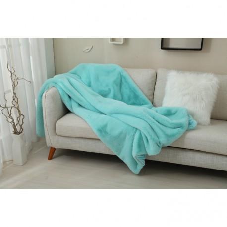 Pătură pufoasa, albastru deschis, 150x170 cm, RABITA
