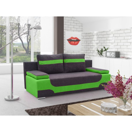 "Canapea extensibila cu lada de depozitare, ""AREA"" verde/negru , L200xA92xH90 cm"
