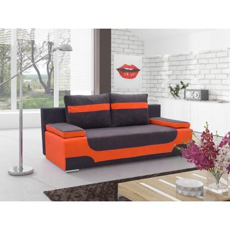 """Canapea extensibila cu lada de depozitare, """"AREA"""" portocaliu/negru , L200xA92xH90 cm"""