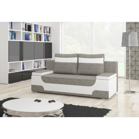 """Canapea extensibila cu lada de depozitare, """"AREA"""" gri/alb , L200xA92xH90 cm"""