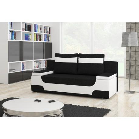 """Canapea extensibila cu lada de depozitare, """"AREA"""" negru/alb , L200xA92xH90 cm"""
