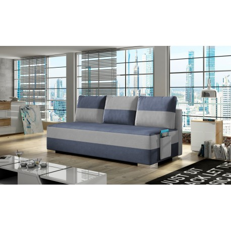 "Canapea extensibila cu lada de depozitare, ""ATILA"" albastru/gri, L200xA92xH73 cm"