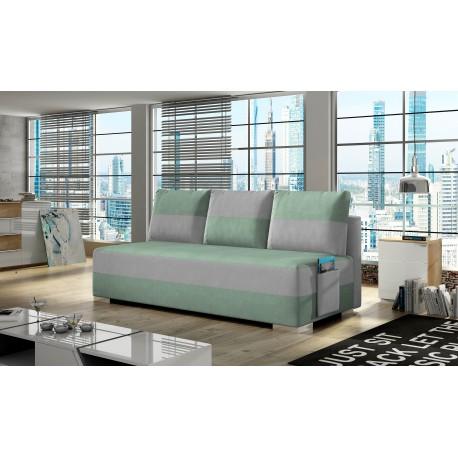"Canapea extensibila cu lada de depozitare, ""ATILA"" verde/gri, L200xA92xH73 cm"